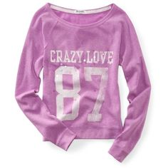 Aeropostale Long Sleeve Cropped Crazy Love 87 Wide Crew Sweatshirt ($20) ❤ liked on Polyvore