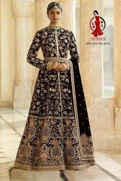 """Price Rs 4550+ Shipping Extra  Fabric *Details :-   Top :- 9000 markable Velvet + Beautiful Embroidery work fancy dori work   BOTTOM :- santoon   Dupatta:- heavy 9000 velvet with Beautiful embroidery work and Moti work heavy look.    Size :- Customize Upto 50"""".  Type :- Semi Stitched  Weight :- 2.5 kg.  Wash :- First time Dry clean.  Quality ki guarantee."""