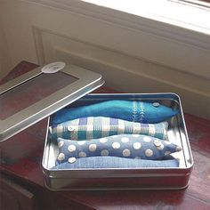 lavender sardines in blue in cotton and linen by limetreedesign