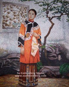 Embroidery Chinese Lady, all hand embroidered with silk threads, silk embroidered art, Suzhou China, Su Embroidery Studio