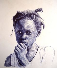 portraits made with ball point pen by Enam Bosokah