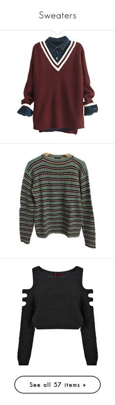 """""""Sweaters"""" by klucysims ❤ liked on Polyvore featuring tops, sweaters, shirts, sweaters/sweatshirts, v-neck sweater, v neck pullover sweater, v-neck pullover, pullover sweater, v neck pullover and jumpers"""