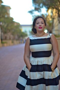 Girl With Curves: Fancy Stripes. Black and white dress, plus size, pockets