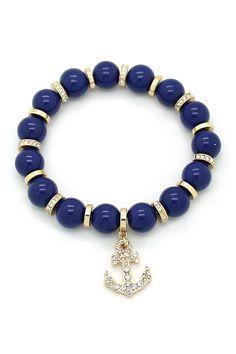 sparkly anchor stretchy bracelet