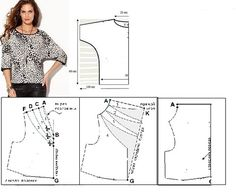einfaches Shirt, alternativ mit Wasserfall-Ausschnitt