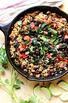 Garlicky Kale with Red Beans + Rice... Super Delicious and Nutritious Meal