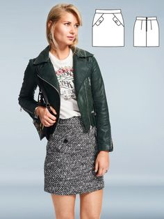 A strong throwback look from the cool and chic look of the sixties, this mini skirt features flap pockets and large buttons. Pair it as shown with a leather jacket and a T-shirt for a style that is a modified version of this skirt.