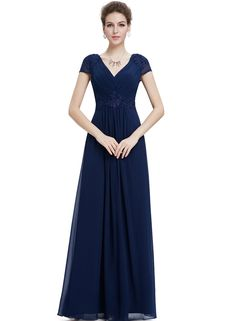 The prom dress is featuring double v neck, back zipper closure, short sleeve, applique decoration and maxi length.
