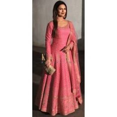 Divyanka Tripathi Pink Stitched Designer Gown Gown=Banglori Satin Silk Dupatta-Net Disclaimer: This product is inspired by a designer collection. It's not an original designer product. This item can not be returned or exchanged. Party Wear Lehenga, Party Wear Dresses, Party Gowns, Net Gowns, Maxi Gowns, Indian Designer Outfits, Designer Gowns, Designer Wear, Red Wedding Gowns