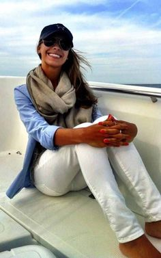 denim shirt + white jeans + full scarf + sneakers or heels or flats
