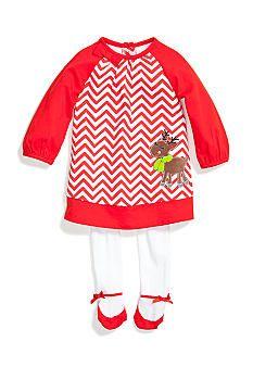 Nursery Rhyme� Christmas Reindeer Chevron Dress Set