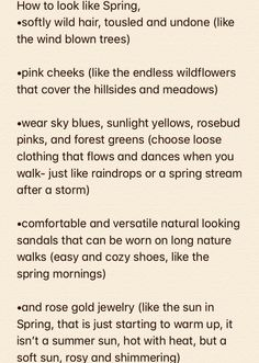 how to look like spring | aesthetic spring list about seasons