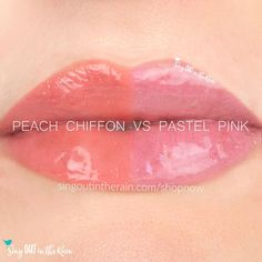 Compare Peach Chiffon vs. Pastel Pink LipSense using this photo.  Peach Chiffon & Pink Pastel are both part of the Posh Pastels Collection by SeneGence - for your perfect Spring lips.