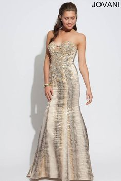 Jovani Gold Starpless Embellished Mermaid Pageant Prom Evening Dress Sz 6 NWT #Jovani #EveningPromPartyPageantWedding