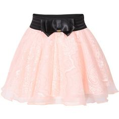 Bow Lace Mesh Flare Pink Skirt | ROMWE.COM