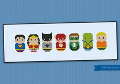 This is a parody, an inspirational cross stitch pattern of the comicbook Justice League of America, featuring: Superman, Wonder Woman, Batman,