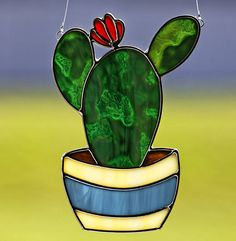 Stained glass cactus in pot suncatcher, stain glass cactus ornament on Etsy