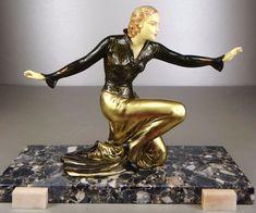1920/1930 ROGGIA MENNEVILLE STATUE SCULPTURE ART DECO CHRYSELEPHANTINE ELEGANTE.   eBay