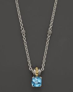 Lagos 18K Gold and Sterling Silver Prism Blue Topaz Necklace, 16""