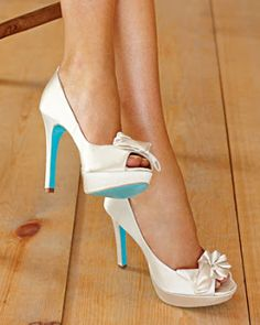 White/Aqua wedding shoes - i like the color on the bottom =)
