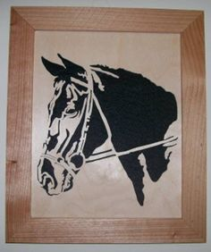 This is a brand new, 8 x 10 inch, scrollsaw portrait of a Horse head. Great gift for horse lovers.These portraits are individually hand cut on my scroll saw, from high quality, cabinet grade, 1/8 inch Baltic Birch plywood, (not laser cut). The woo...