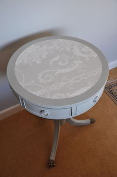 Vintage hand painted pedestal table with Laura Ashley 'Josette' top drawers Laura Ashley Furniture Paint, Chalk Paint Furniture, Hand Painted Furniture, Repurposed Furniture, Painted Pedestal Tables, Laura Ashley Josette, House Painting, Drawers, House Ideas