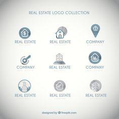 Simple real estate logos pack Free Vector