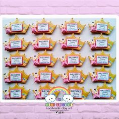 BABY GIRL PRINCESS THEMED MAGNET  CHRISTENING SOUVENIRS 100% HANDMADE  MATERIAL: POLYMER CLAY