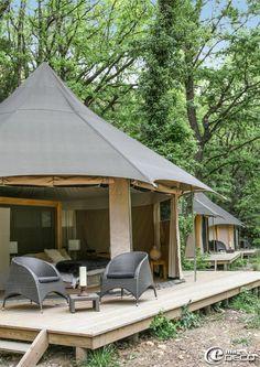 French tent lodging---luxurious! Le Lodge du Pont d'Arc