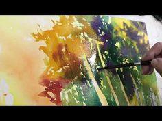 A watercolor landscape using bold color mixes Watercolor Flowers Tutorial, Watercolor Video, Watercolor Painting Techniques, Watercolor Trees, Watercolour Tutorials, Painting Videos, Watercolor Landscape, Abstract Watercolor, Painting & Drawing