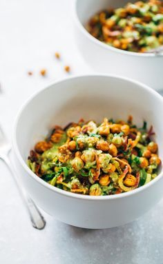Rainbow Power Salad with Roasted Chickpeas - so colorful and SO GOOD! an easy, healthy salad recipe with zucchini, carrots, and chickpeas, and a five minute sauce! Vegan.