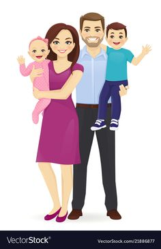 Family portrait vector image on VectorStock Mother Daughter Art, Mother And Child, Family Vector, Chica Fantasy, Family Drawing, Couples Comics, Family Illustration, Couple Cartoon, Cute Wallpaper Backgrounds