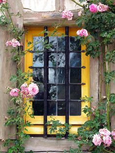 Yellow Window With Pink Roses at Marie Antoinette's Hamlet, Versailles, France SO Beautiful. Old Windows, Windows And Doors, Cottage Windows, Yellow Cottage, Through The Window, Window View, Window Dressings, Mellow Yellow, Marie Antoinette