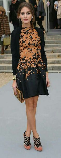 Shoes: Dior (Olivia Palermo, Paris FW; ankle boots & clutch: Dior, cardigan: COS)
