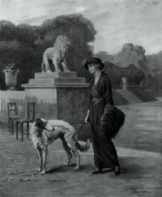 Berne-Bellecour, Étienne Prosper (b,1838)- I, Borzoi w Woman- 'Sphere' mag- Oct. 1914 (Elliman's Tonic for Dog & Humans- ad) {Duplicate Variation Below- Color}