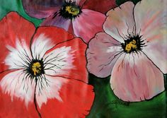 """Titles, """"Flowers Forever"""", this bright hand painted floor mat (Also called canvas floor cloth, floor covering) will add a pop of colour to any room especially during our long Canadian winters. All my mats are original designs, hand-painted on quality canvas with acrylic paint. I apply several coats of finish to provide the ultimate in wear-ability. To clean, wipe with a damp cloth. Never machine wash. Painted Floor Cloths, Painted Rug, Hand Painted Canvas, Canadian Winter, Color Pop, Colour, Floor Covering, Floor Rugs, Art Work"""