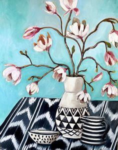 Magnolia and Black and white vessesls – Ali Wood Artist