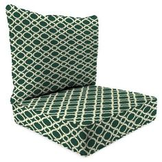 Jordan Manufacturing Outdoor Patio-2 Piece Deep Seat Chair Cushion, Kent Crossing Hunter, Beige