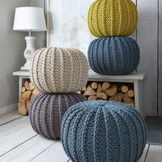 Super soft poufs made of knitted ribbon yarn. Cozy poufs for the interior. Soft furniture Super soft poufs made of knitted ribbon yarn. Cozy poufs for the interior. Knitted Poufs - Nordic House Knitted Poufs, great feature for a living room and pratical - Fall Home Decor, Autumn Home, Pouf En Crochet, Knitted Pouffe Pattern, Crochet Cushions, Crochet Pillow, Crochet Patterns, Ribbon Yarn, Diy Décoration