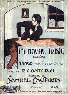 Sheet music artwork for Mi Noche Triste - tango for piano and voice Vintage Dance, Vintage Sheet Music, Music Covers, Album Covers, Argentine Tango, Ballroom Dancing, Dance Photos, Book Illustration, Lotr