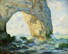 'The Manneporte' is one of the paintings done by Monet during his time spent at Étretat a fishing village at the Normandy coast. Monet has taken in the effect of sky and shadows quite well by painting it at different times of the day. Monet Paintings, Impressionist Paintings, Nature Paintings, Landscape Paintings, Impressionism Art, Landscape Art, Claude Monet, Pierre Auguste Renoir, Auguste Rodin