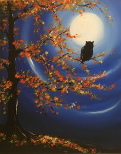 """""""Moonlit Owl"""" acrylic painting by Jonna Wormald for Cork & Canvas"""