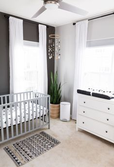 A Modern and Neutral Nursery // Behr Silver City, Behr Dark Granite // Ikea Hemn. - Ikea DIY - The best IKEA hacks all in one place Baby Boy Rooms, Baby Bedroom, Baby Room Decor, Baby Boy Nurseries, Nursery Room, Modern Nurseries, Ikea Baby Room, Ikea Baby Nursery, Nursery Modern