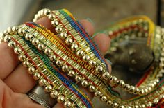 Rainbow Beaded Lace Trim /Skinny Ribbon Sari by WomanShopsWorld
