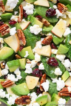 This quick, healthy Apple Avocado Spinach Salad recipe is made with a mix of sweet and savory ingredients, and dressed with a tangy apple cider vinaigrette. Spinach Apple Salad, Avocado Spinach Salad, Spinach Salad Recipes, Crab Salad, Vegetable Soup Healthy, Healthy Salads, Healthy Eating, Healthy Recipes, Taco Salads