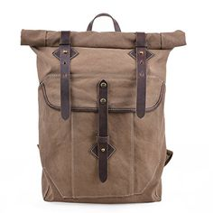 b4020c0cc093 New Gootium Roll-top Backpack - Canvas Outdoor Travel Rucksack