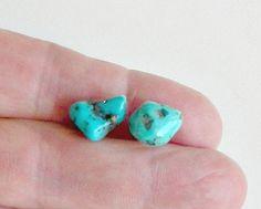 Chunky Turquoise Nugget Earrings Vintage Pierced Post Turquoise Stone Stud Earrings