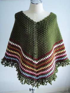 Crochet cape poncho classic style Olive  Green by NRWhandmade