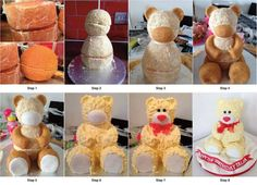 Step by step teddy bear cake via http://www.facebook.com/CoolProducts