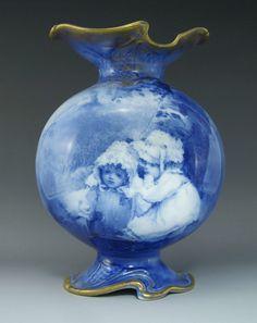 Antique Royal Doulton Blue Children Babes in Woods Series Vase C 1890's 1902 | eBay